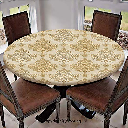 Elastic Edged Polyester Fitted Table Cover,Vintage Baroque Pattern with Curved Flower Lines Rococo Style Ornate Artwork,Fits up 45