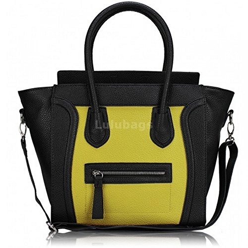 Miss Lulu , Damen Tote-Tasche schwarz / gelb