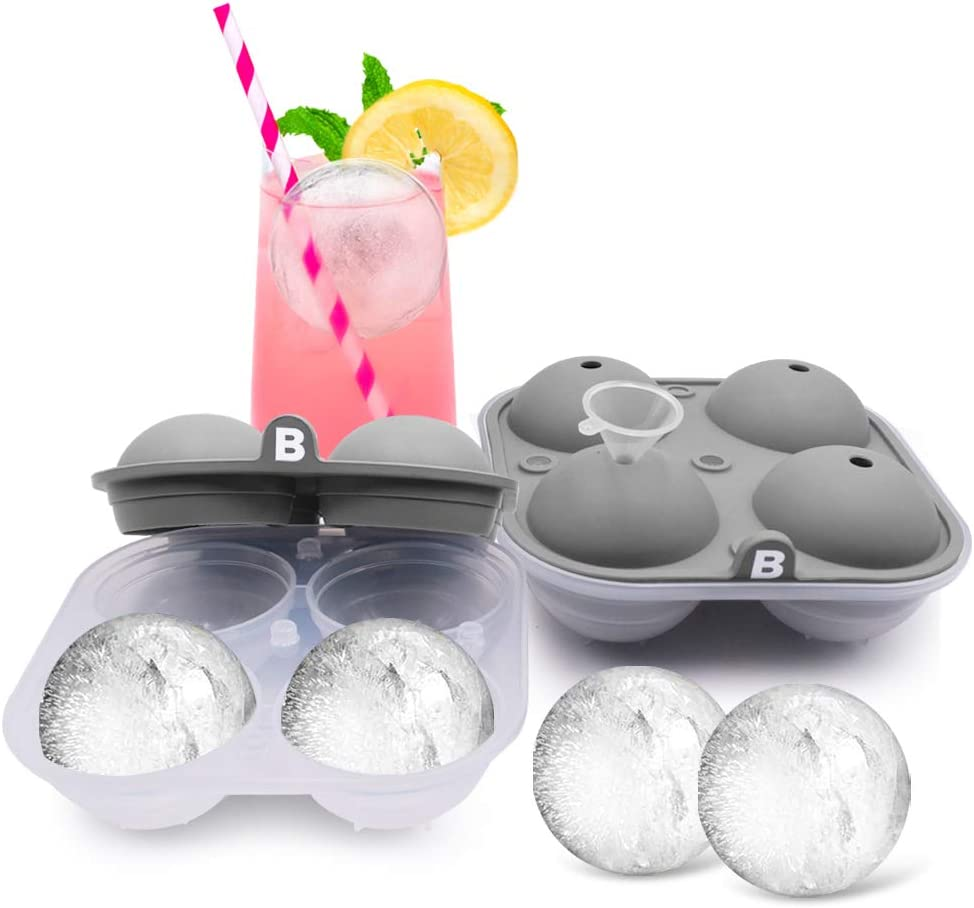 Bizz Large Round Ice Cube Mold Tray with Lid- Spherical Shaped Cavities-2 Pack-Big Ice Cubes for Whiskey, Bourbon, Soda, Cocktails, Everyday Use Parties-Reusable, Food Grade Silicone BPA Free Plastic