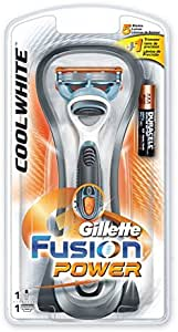 Gillette Fusion Power Cool White Máquina de afeitar de láminas Recortadora Metálico, Multicolor - Afeitadora (Máquina de afeitar de láminas, Metálico, Multicolor, Batería): Amazon.es: Salud y cuidado personal