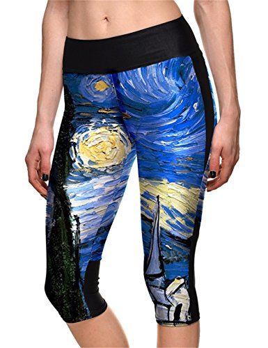 Hoyou Women's Plus Size Fitted High Waist Workout Cropped Pants - Galaxy Print Capri Leggings with Pockets(Starry,M)