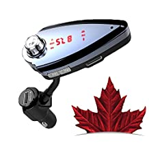 Bluetooth FM Transmitter for car, VeQuarrie Wireless Flexible Gooseneck Car Bluetooth Radio Adapter With High Quality Hands Free Calling , 2 USB Car Charger, Support U Disk/ TF Card Slot, MP3 Music Player, Mobile Audio Output Devices - (18 MONTHS WARRANTY)