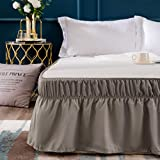 AYASW Bed Skirt-16 Inch Drop Dust Ruffle Three Fabric Sides Wrap Around (Queen/King Taupe) Brushed Microfiber Adjustable Elastic Easy Fit