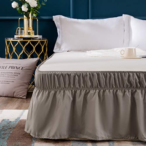 Bed Skirt-14 Inch Drop Dust Ruffle Three Fabric Sides Wrap Around Ruffled (Queen/King Taupe) Brushed Microfiber Adjustable Elastic Easy Fit ()