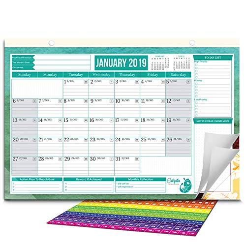 Caterpillar Calendar-2019 to 2020 Monthly & Yearly. Wall Calendar or Desk Calendar (January 2020 - June 2020) with 200 Sticker! Dimensions = 17 X 11 for Home, Office, Academic, Desktop, Desk Pad