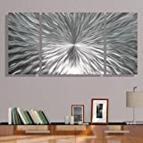 Silver Metal Wall Art by Jon Allen - Modern Abstract Metal Panel Wall Art - Home Decor, Home Accent, Contemporary Metallic Wall Sculpture, Enlivenment III, 50'' x 24''