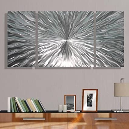 Amazon.com: Silver Metal Wall Art by Jon Allen - Modern Abstract ...