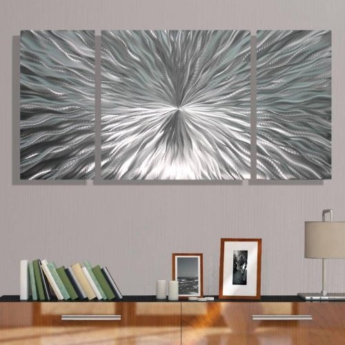"Sophisticated Natural Silver Etched Modern Abstract Metal Panel Wall Art - Home Decor, Home Accent, Contemporary Metallic Wall Sculpture - Enlivenment III by Jon Allen - 50"" x 24"""