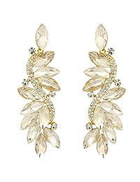 Ever Faith Gold-Tone Austrian Crystal Party Marquise Shape Dangle Earrings Clear N05723-7