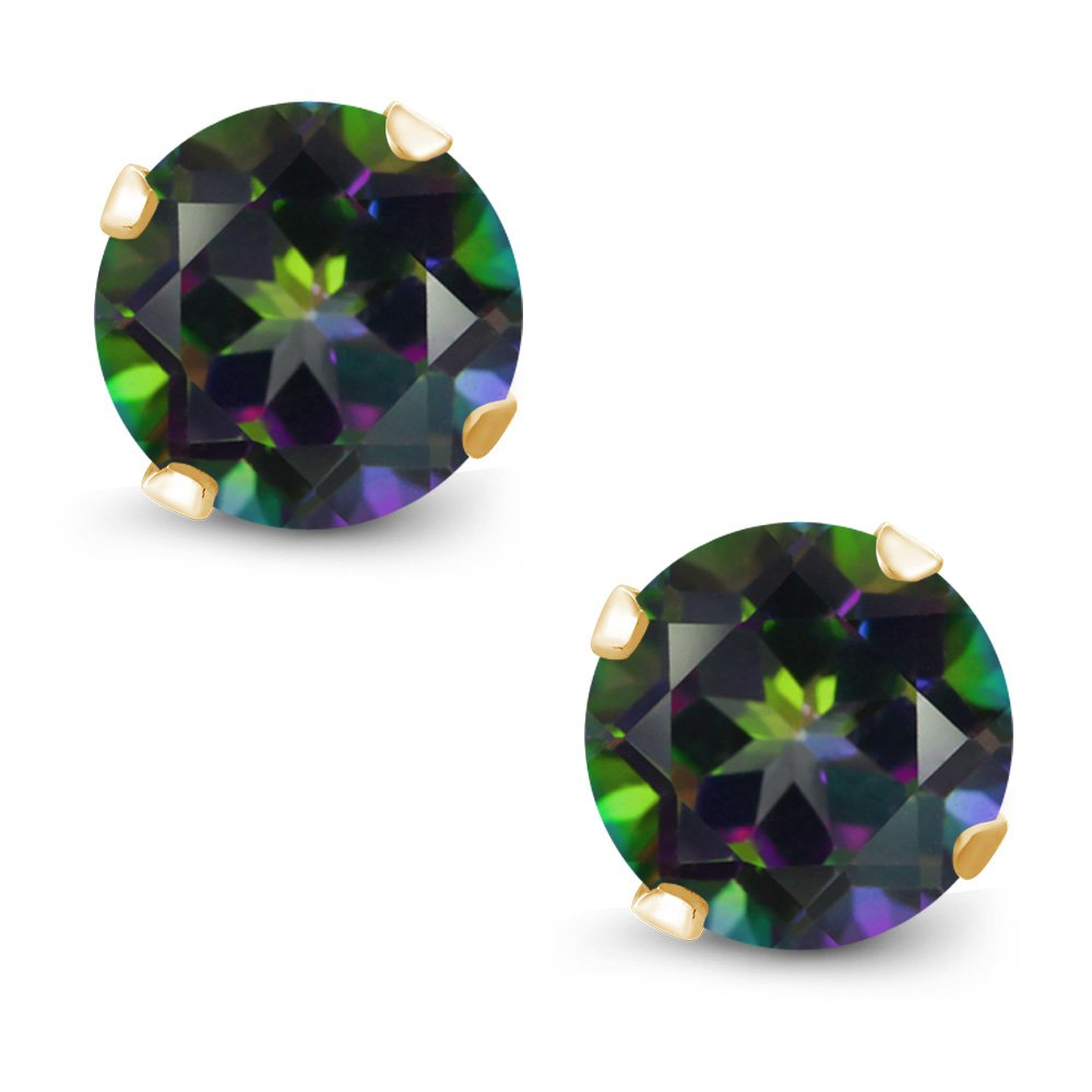 Gem Stone King 2.00 Ct Round Green Mystic Topaz Gold Plated Silver 4-prong Stud Earrings 6mm