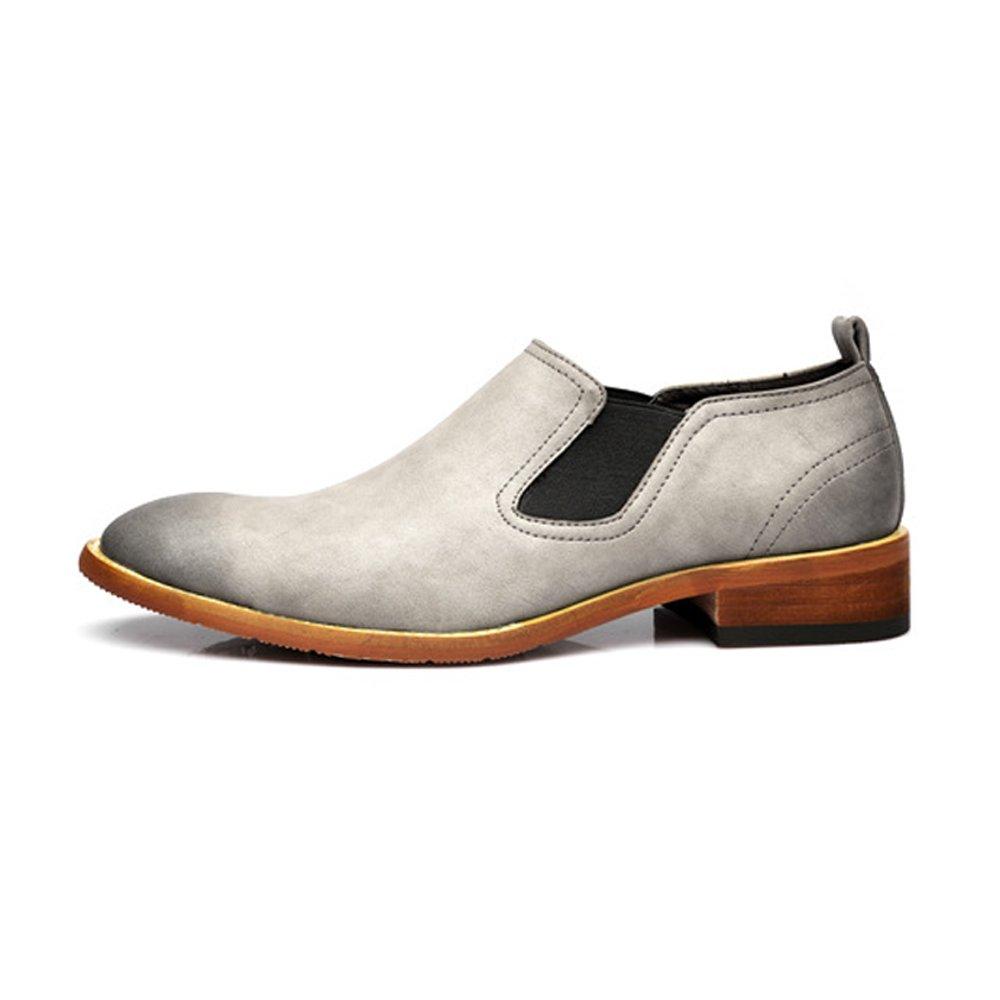 BMD Schuhes Lederschuhe, Männer Casual Slip on Schuhe Echtleder Dual Flexible Platte Matte Echtleder Schuhe Blockabsatz Outsole Oxfords (Farbe : Grau, Größe : 42 EU) Grau ff2022