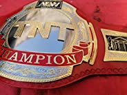 Maxan TNT Championship Belt Replica Wrestling Genuine Red Leather Belt Dual Plated with Wall Hanger