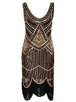 Vijiv Women's 1920s Gastby Inspired Sequined Embellished Fringed Flapper Dress