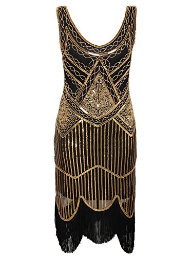 Gastby Inspired Sequined Embellished Fringed Flapper Dress,Black+gold,XX-Large ()