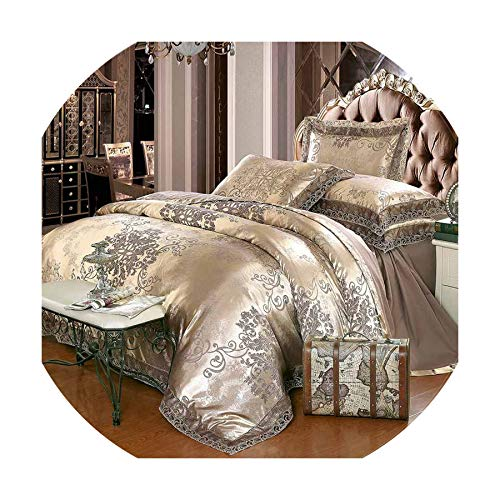 (The fairy Luxury Jacquard Bedding Set King Queen Size 4/6Pcs Bed Linen Silk Cotton Duvet Cover Lace Satin Bed Sheet Set Pillowcases,A,King Size 6Pcs)
