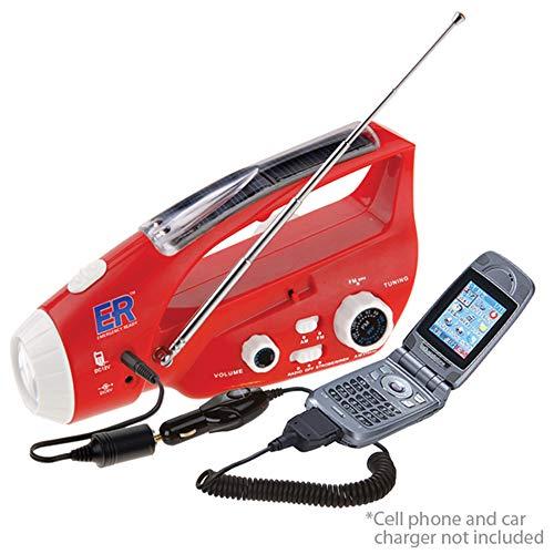 ER Emergency Ready 6N Solar/Hand-Crank Powered Emergency LED Flashlight and AM/FM Radio