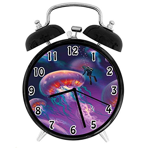 22yiihannz Fantasy House Silent Luminous Alarm Clock,Diver with Giant Jellyfish Magical Underwater World isan-No Ticking,Soft Night Light,The Best Gift for Family or Friends-3.8 inch