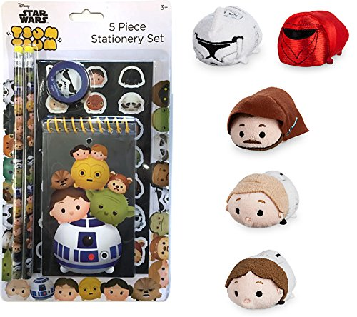 Disney Star Wars Tsum Tsum Collection Han Solo / Luke Skywalker / Red Guard / Clone Trooper & Obi-Wan Kenobi + Disney Tsum Tsum Stationary Set / Pencils / Pad / Stickers Character Bundle