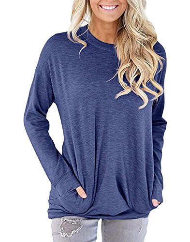 SVALIY Women Solid Color Round Neck Casual Loose Long Sleeve Sweatshirt T-shirts Tops Blouse Navy XL