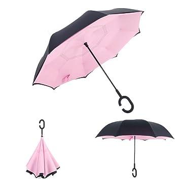 Paraguas Reversible Plegable Del Doble De La Capa Paraguas Del Coche De La Lluvia Del Anti