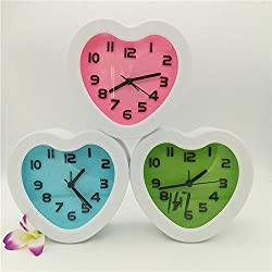 Goodscene Cute Design 1 PC Home Decoration Cute Heart Shape Alarm Clock (Randam)