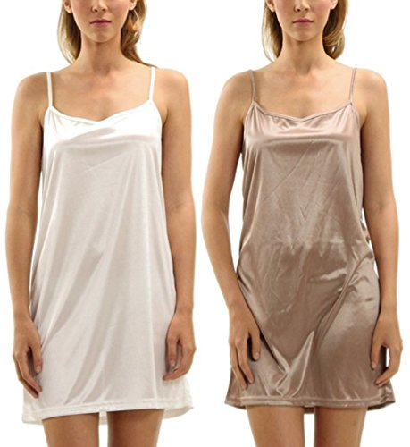 Women's Basic Soft Satin Chemise Full Slip Camisole Top Nightgown Sleepwear 2 Pieces Set Combo Pack (Ivory/Mocha, Large)