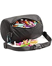 MinYEE Zippered Clothespin Bag for Clothesline, Waist Pack Many Ways to Wear, Waterproof, Dustproof, Large Opening, Large-Capacity, Hanging Clothespin Holder Bag Storage Organizer with Hooks,