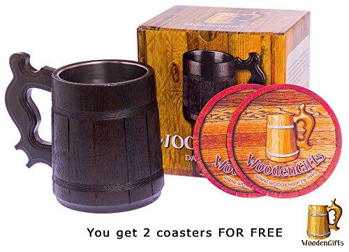 Beer Mug/Wooden Beer Mug/Tankard / Wood Mug By WoodenGifts - 0.6 Litres Or 20oz Wooden Mug - Wooden Coffee Mug with Stainless Steel Cup Inside by WoodenGifts (Image #2)