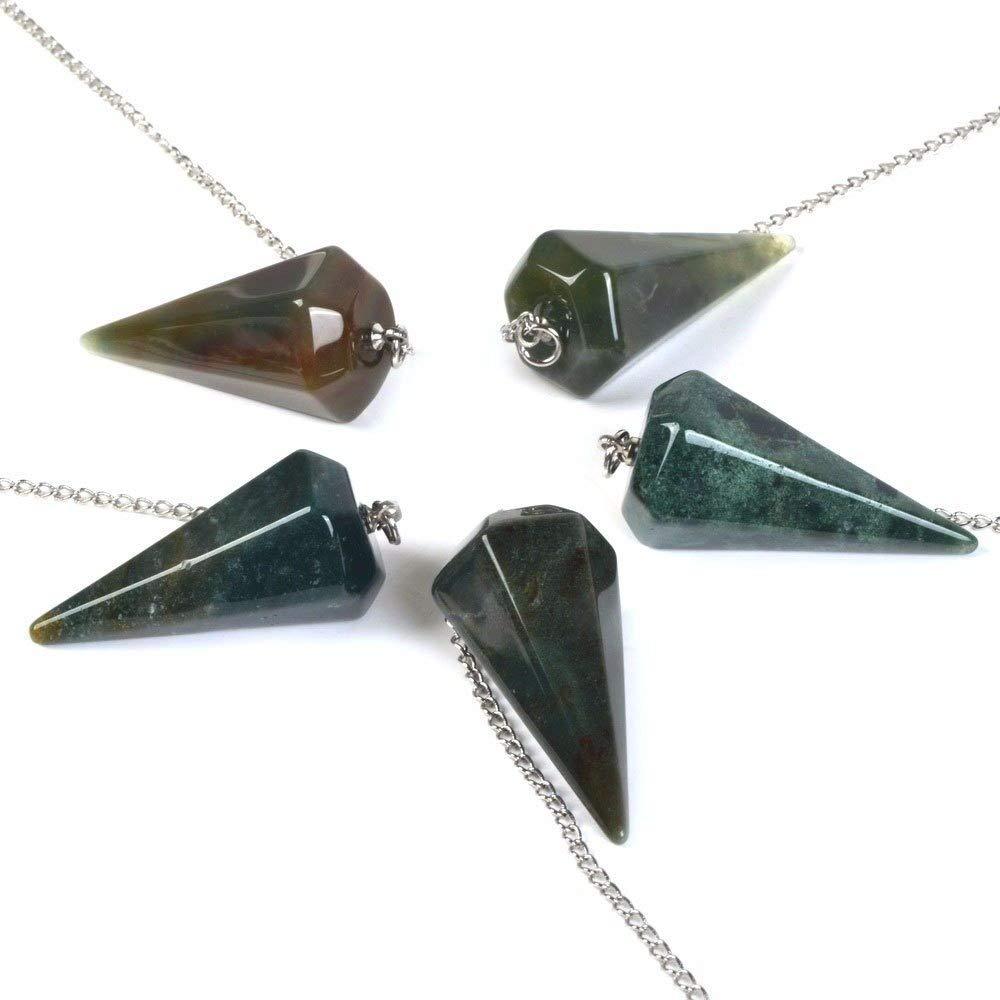 Justinstones 7 Chakra Gemstone Rock Crystal Hexagonal Pointed Reiki Chakra Pendant Pendulum