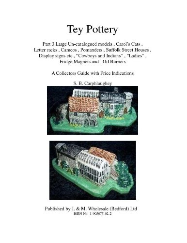 "Tey Pottery Part 3 Large Un-catalogued models , Carol's Cats , Letter racks , Cameos , Pomanders , Suffolk Street Houses , Display signs etc , ""Cowboys ... with Price Indications S. B. (Cameo Magnet)"