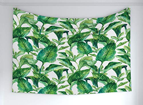 Ambesonne Leaf Tapestry, Romantic Holiday Island Hawaiian Banana Trees Watercolored Image, Fabric Wall Hanging Decor Bedroom Living Room Dorm, 60 W X 40 L Inches, Dark Green Forest Green (Hawaiian Living Room)