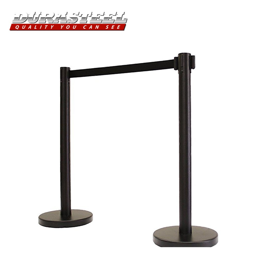 DuraSteel VIP Series Standard Duty Black Tuff Tex Retractable Belt Stanchions (2 Pcs Set) 36'' H with 6.5 Feet Black Belt by DuraSteel