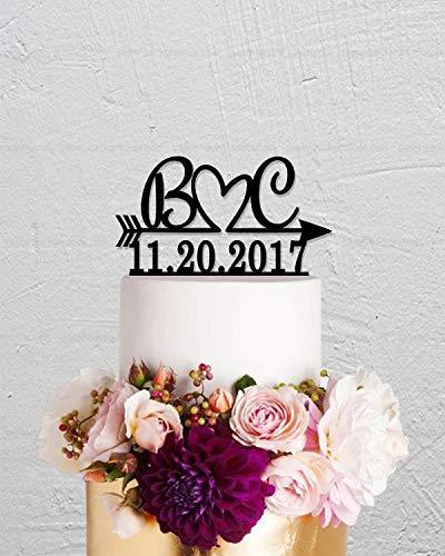 SWQAA Wedding Cake Topper,Initials Cake Topper,Arrow Cake Topper,Date Cake Topper,Personalized Cake Topper,Rustic Cake Topper,Name Cake Topper -