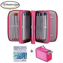 ZJchao 72 Color Harmless Pencils Set with Rose Red Pencil Holder Bag for Artist Sketch/ Adult Secret Garden Coloring Book/ Kids Artist Writing/ Manga Artwork Good Gift for Kids