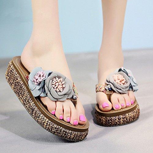 ZHIRONG Zapatos de playa de moda Zapatillas de mujer antideslizante Sandalias resistentes al desgaste Cuñas Fondo grueso ( Color : A , Tamaño : EU39/UK6/CN39 ) C