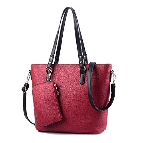 de Portátil Cuero Hombro Rojo Femenino con Bolso del Compras RUIREN de Oscuro de Bolso qzBFxZtZ