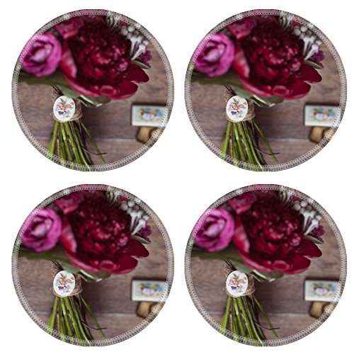 Id Rose Brooch (Luxlady Natural Rubber Round Coasters IMAGE ID: 25911546 Wedding bouquets of red and pink roses and propionic and retro brooch)