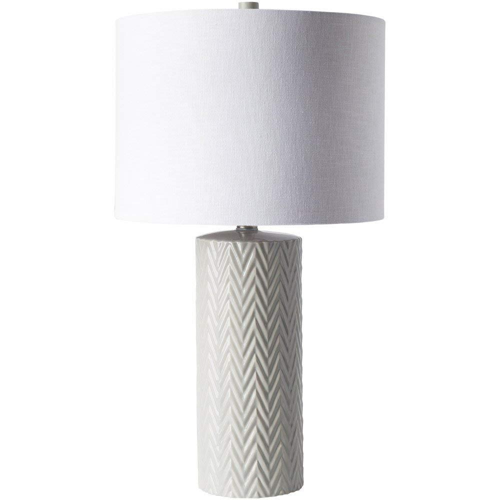 9b07369a018a Amazon.com: Zuri Furniture Alo White Ceramic and Linen Table Lamp: Kitchen  & Dining