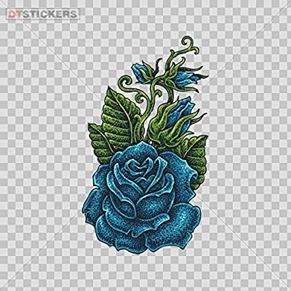 e2e02adcc Amazon.com: Vinyl Stickers Decal Blue Rose Flower Tattoo Style For Helmet  Waterproof D217 22997: Automotive