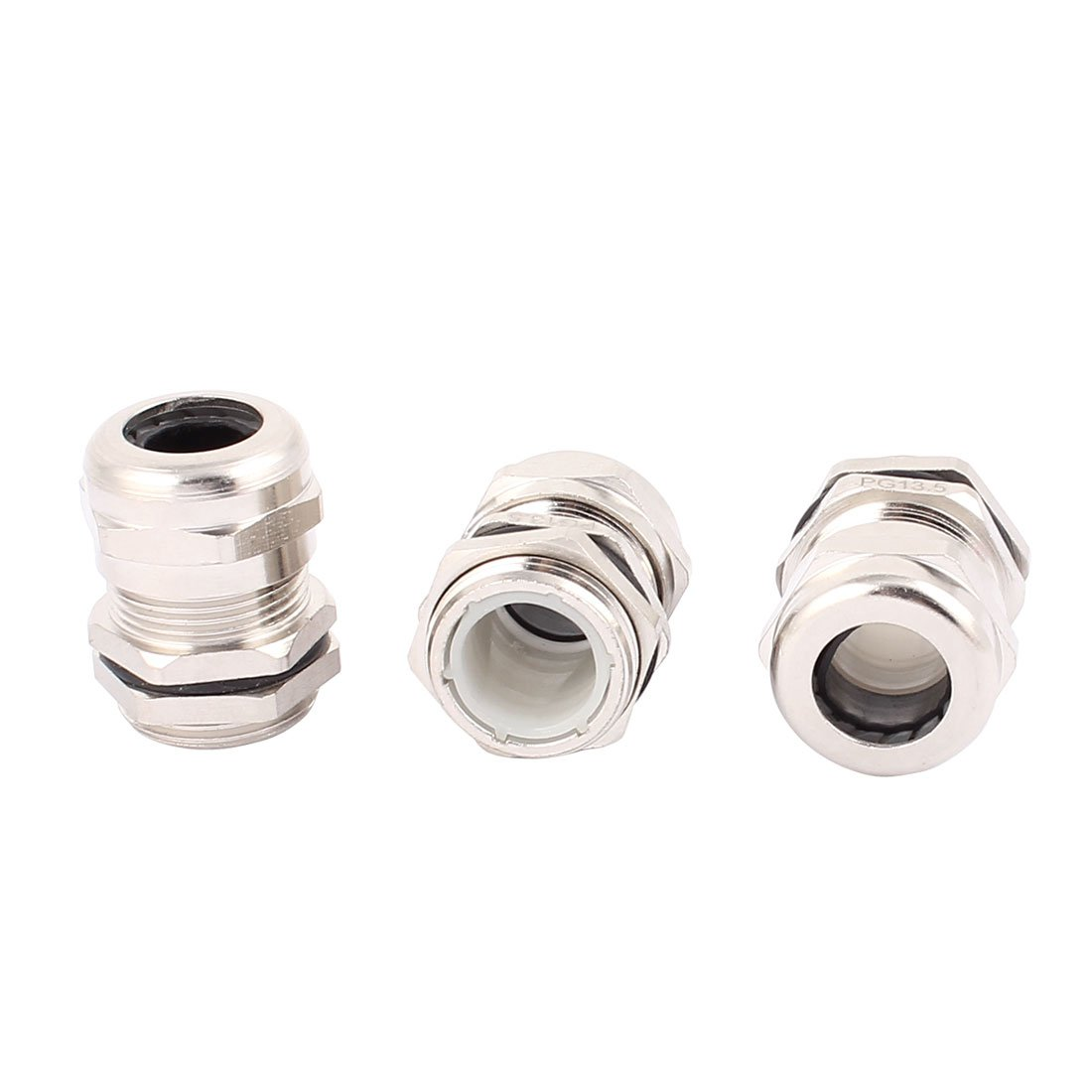uxcell 3 Pcs PG13.5 Cable Gland Stainless Steel Waterproof Connector Fastener Locknut Stuffing for 6-12mm Dia Wire