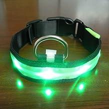 Eliteshine Fashionable LED Light Safety Adjustable Nylon Dog Collar and Leash (Green, S, M, L, XL)