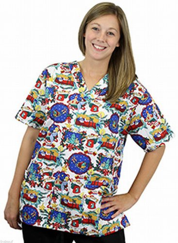 Women's 2 Pocket Holiday Print Scrub Top Extra Small - Night Before Christmas
