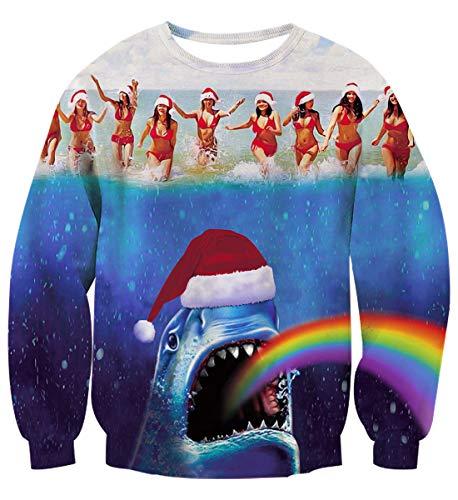 Uideazone Mens Womens Christmas Ugly Sweaters Shark Rainbow Printed Pullover Sweatshirts -