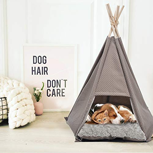 Dporticus Portable Pet Canopy Teepee Indian Tent Bed for Little Dogs and Cats with a Soft Cushion
