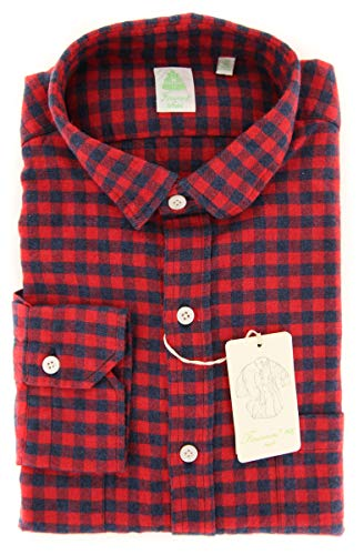 Finamore New Napoli Red Check Extra Slim Flannel Shirt (Shirt Red Napoli)
