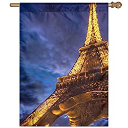 Garden Flag Eiffel Tower Picture Lawn Banner Outdoor Yard Home Flag Wall Decoration Flag 27 X 37 Inch