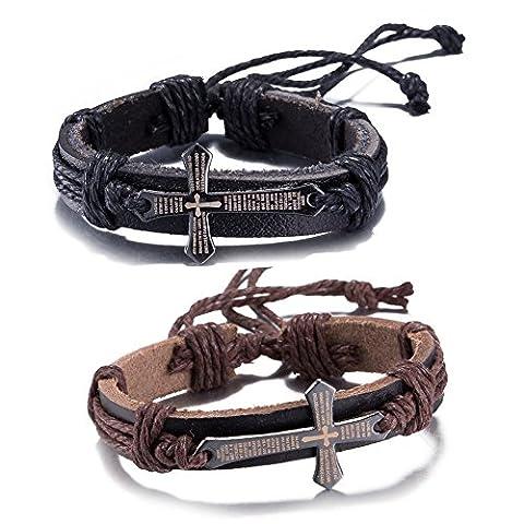 Godyce Prayer Couples Cross Bracelets Black Brown Leather - Bible Charm Jewelry - Cross Prayer Box Charm