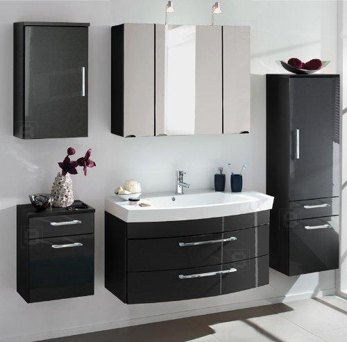Badezimmer Hochglanz anthrazit Waschbecken Badezimmer Spiegelschrank Waschtisch