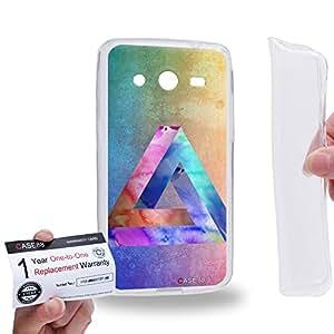 Case88 [Samsung Galaxy Core 2 / II G355H] Gel TPU Carcasa/Funda & Tarjeta de garantía - Art Fashion Water Color Penrose Triangle