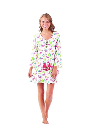 6b77431a57 Mud Pie Women's Flamingo Tenley Tassel Cover-Up Flamingo Paradise (Small)